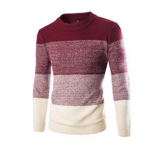 Men's red color block sweater